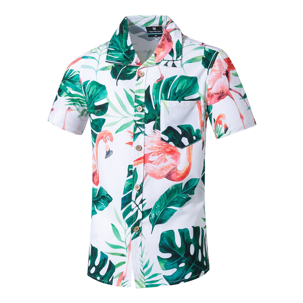 Men Summer Printed Short-sleeved Beach Shirt Quick-drying Casual Loose Top Red_4XL