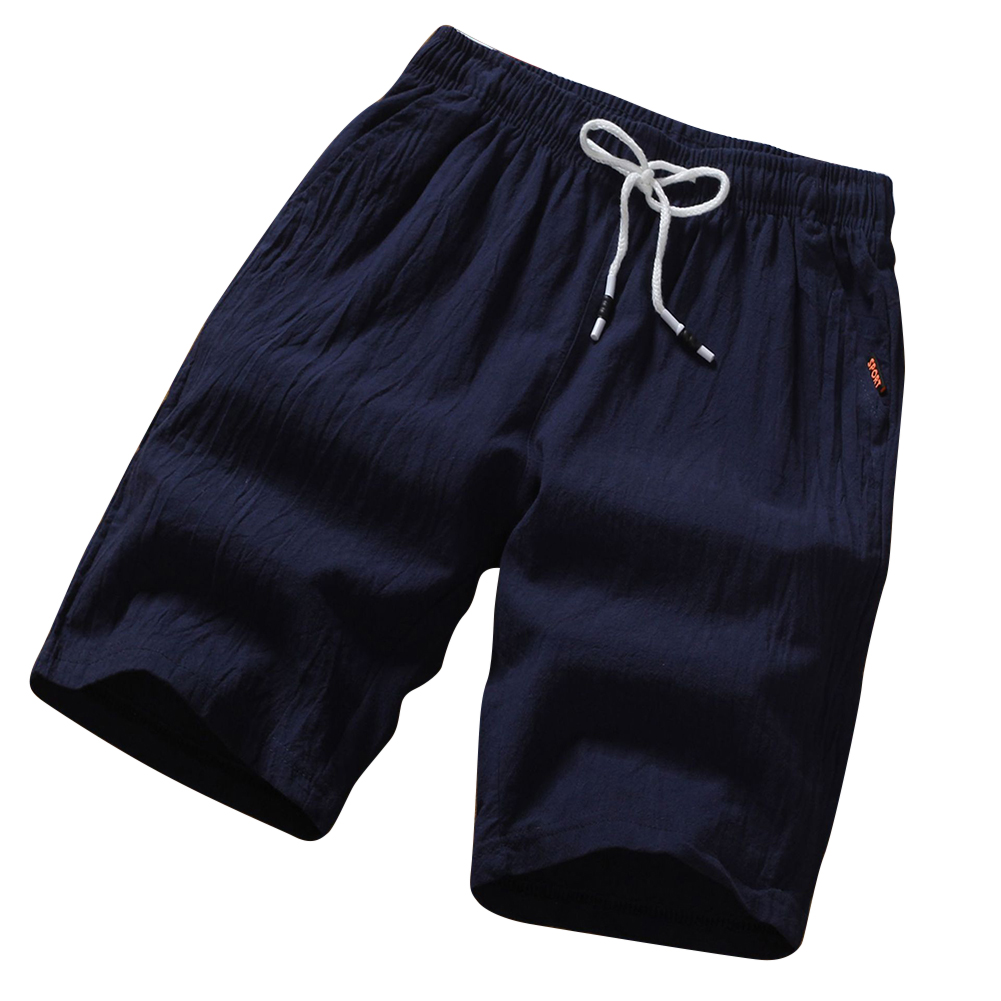 Men Soft Cotton Loose Casual Shorts Middle Length Pants Navy_L