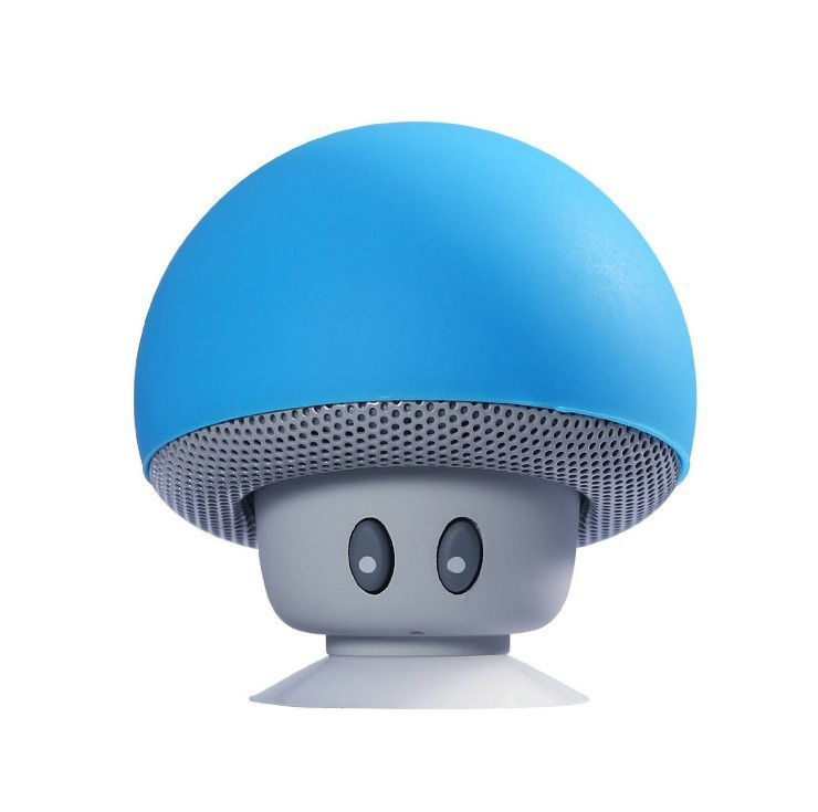 Mini Portable Cute Mushroom Head Bluetooth Speaker Wireless Stereo Speaker with Suction Cup blue