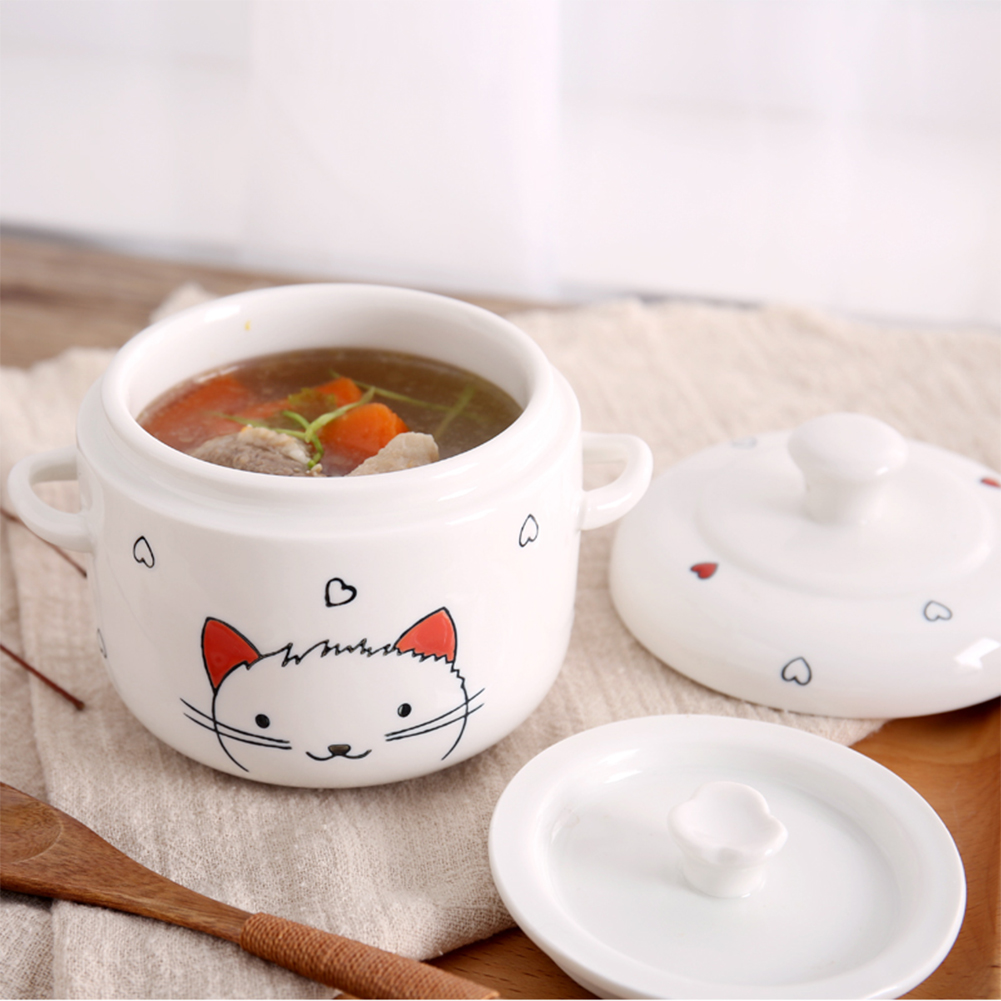 Cute Ceramics Stew with Two Ears Microwave Oven Pressure Cooker Available for Kitchen Cooking Medium