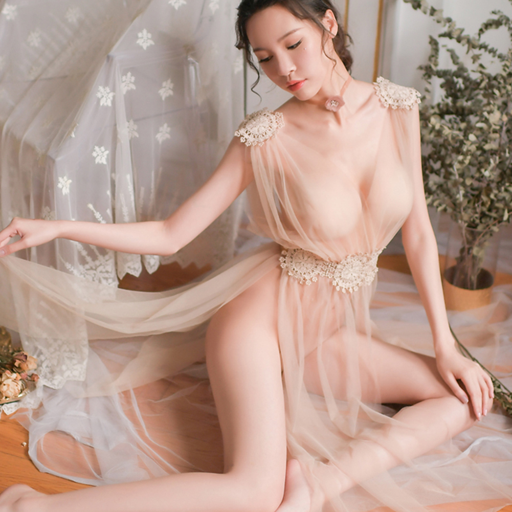 Lady See-through Nightdress + Briefs Deep V-Neck Side Split Lace Sexy Temptation Gauze Lingerie Underwear apricot_One size