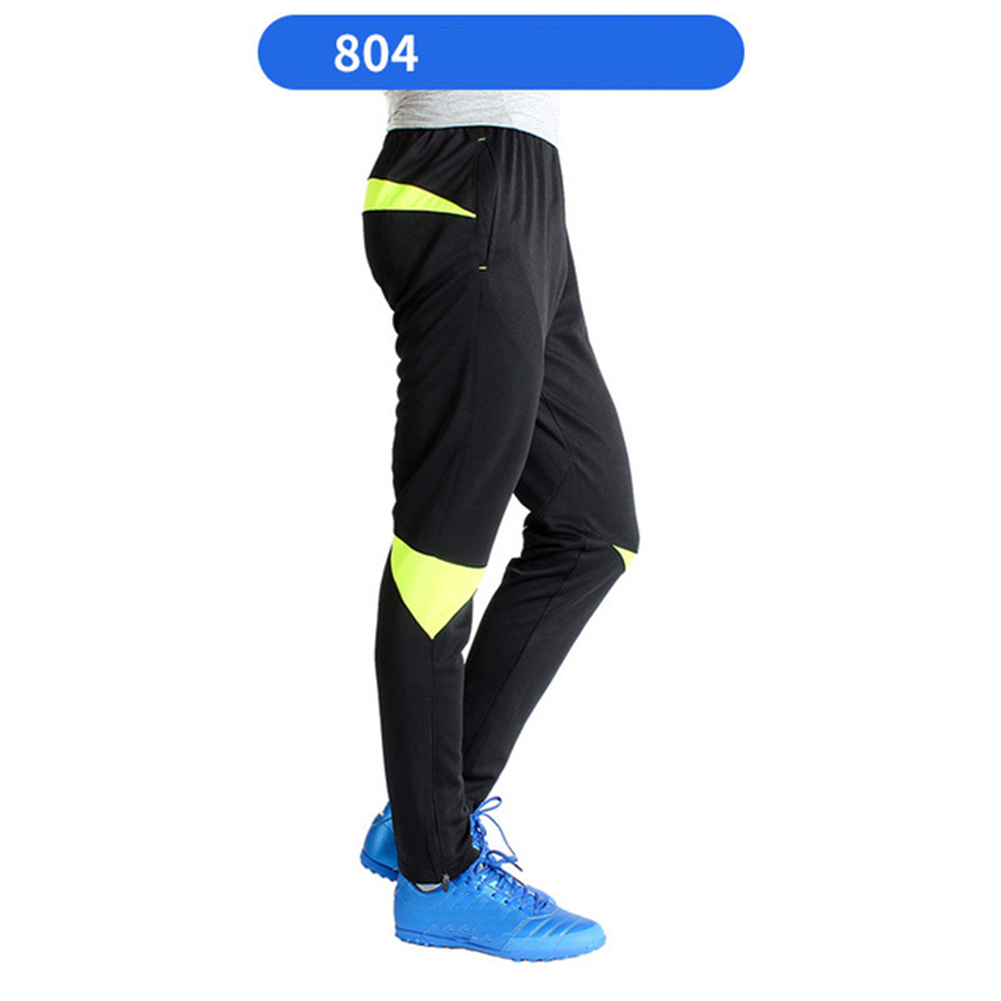 Men Athletic Training Pants Breathable Running Football Long Pants 804-fluorescent green_XXXL