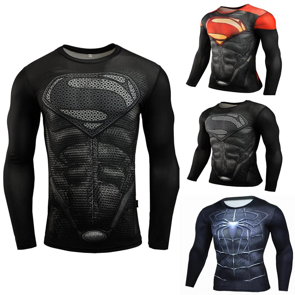 Fitness Compression Shirt Men Anime Printing Bodybuilding Long Sleeve Crossfit 3D Superman Punisher T Shirt  black superman_XL