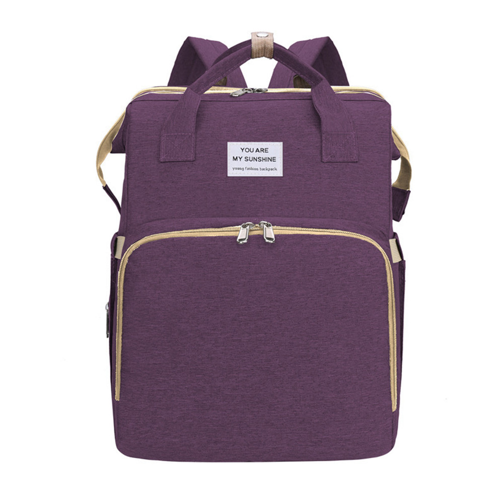 Mummy Bag Extendable Baby Folding Bed Multifunctional Backpack purple