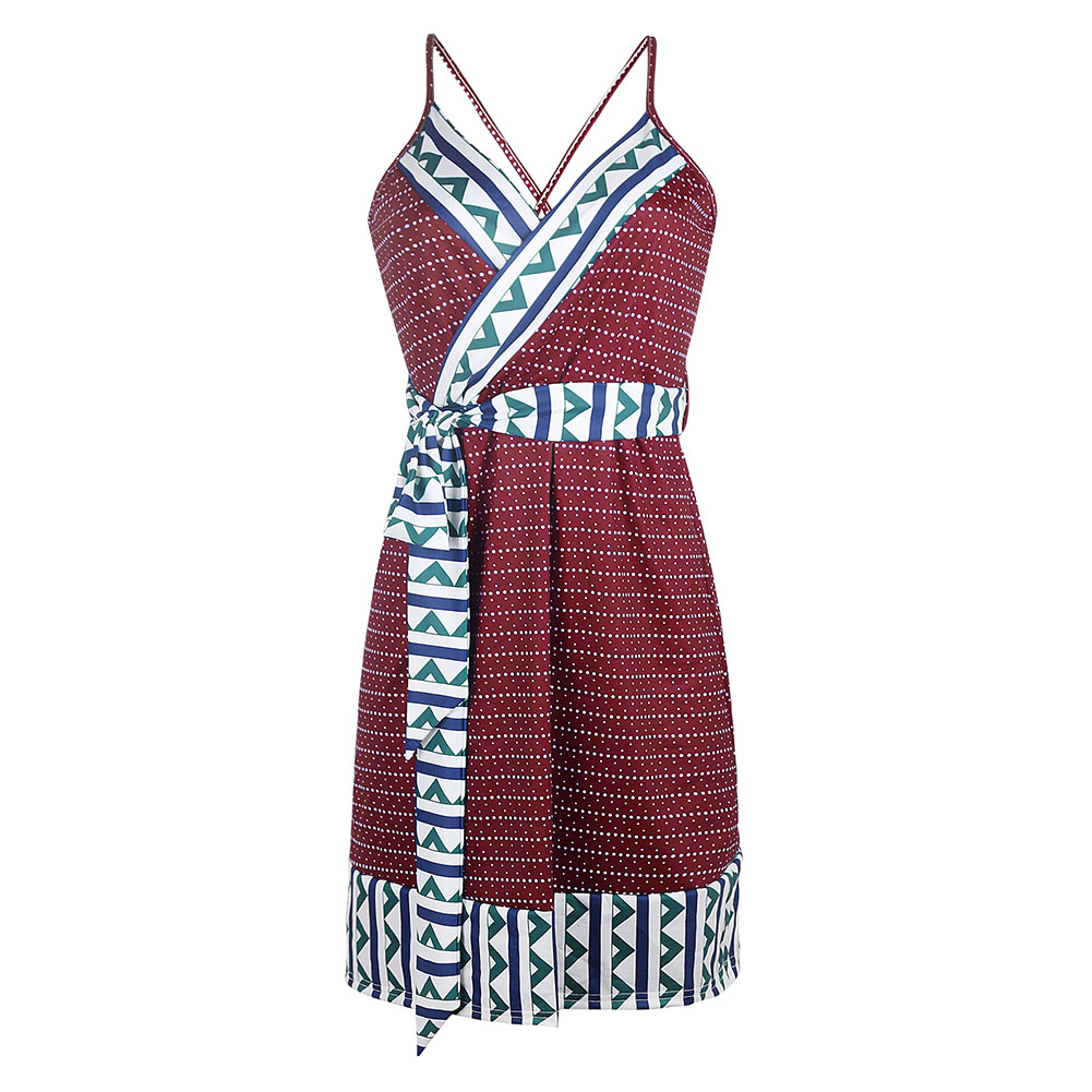 Women Summer Fashion Maternity Printed Sling Pregnant  Bohemian Style Dress Red wine_L