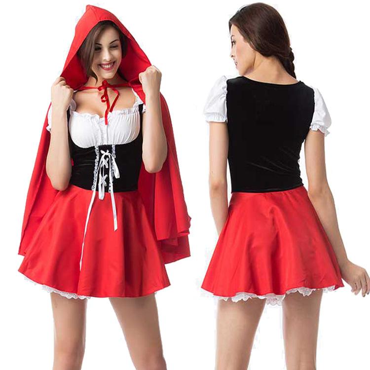 Woman Plus-size Sexy Slim Dress Halloween Special Festival Costume Maid Uniform red_L