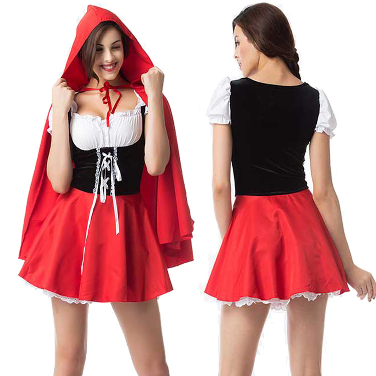 Woman Plus-size Sexy Slim Dress Halloween Special Festival Costume Maid Uniform red_S
