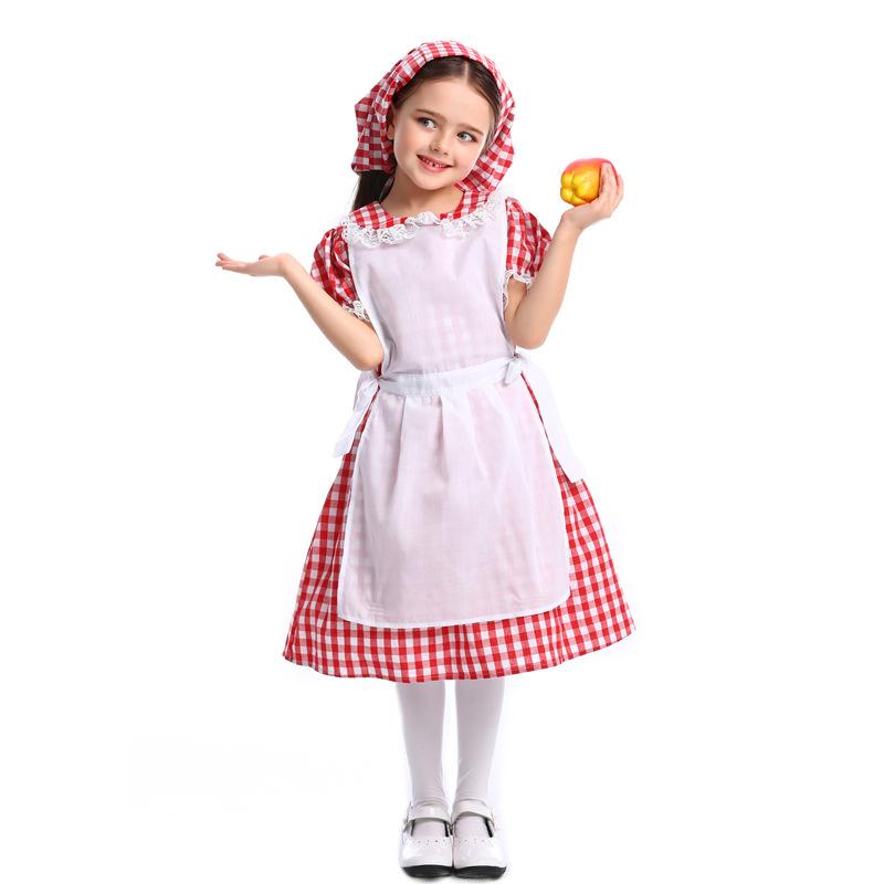 Children Lace Lattice Slim Dress Halloween Special Beer Festival Costume Maid Uniform Red plaid_M