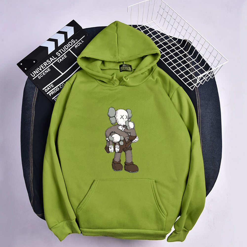KAWS Men Women Hoodie Sweatshirt Climbing Doll Cartoon Thicken Autumn Winter Loose Pullover Green_XXL