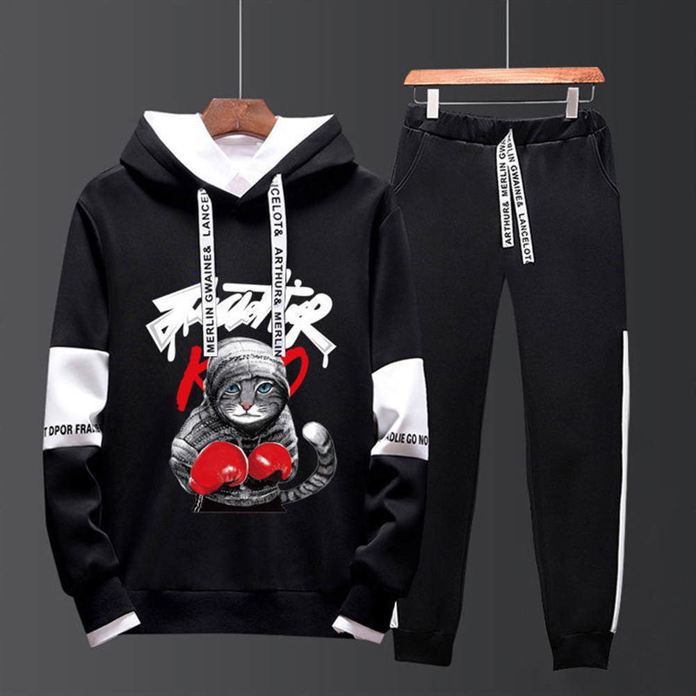 Two-piece Sweater Suits Long Sleeves Hoodie+Drawstring Pants Sports Wear for Man 2#_XL