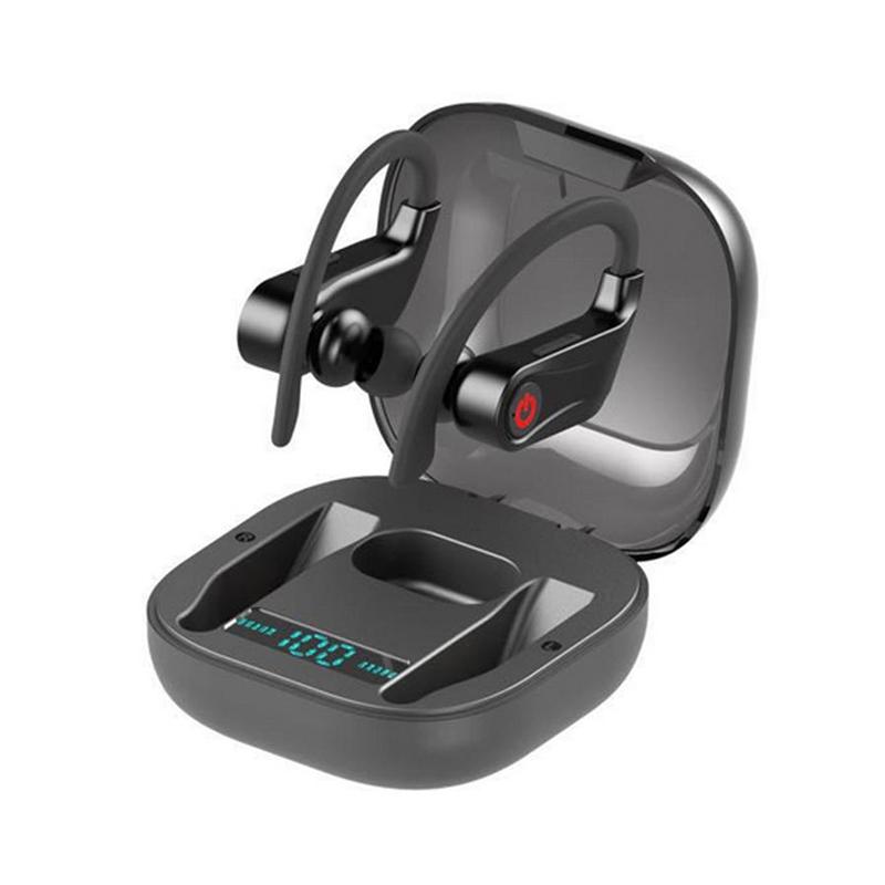 True TWS Wireless Earphone Bluetooth 5.0 Stereo Sport Headphones Case 950mah Waterproof Ear Hook Headsets black