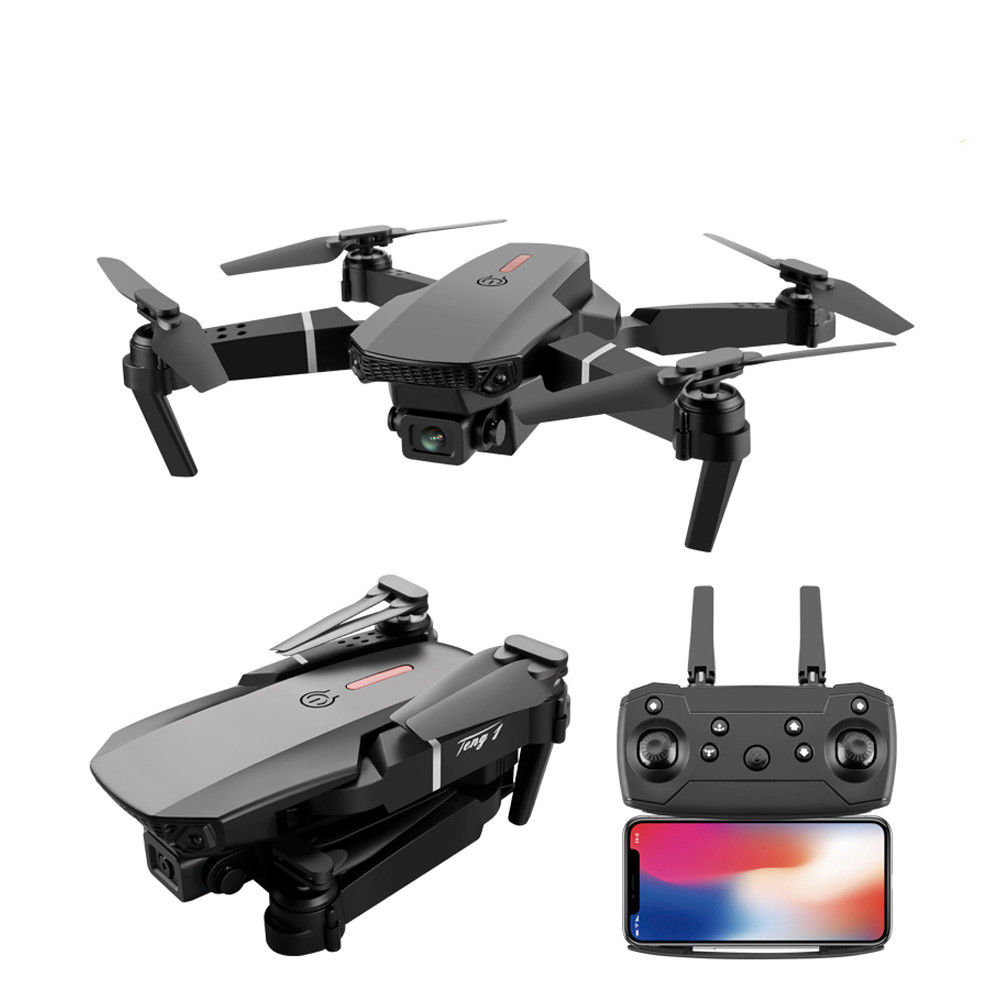 E88 pro drone 4k HD dual camera visual positioning 1080P WiFi fpv drone height preservation rc quadcopter Black without camera 3 battery