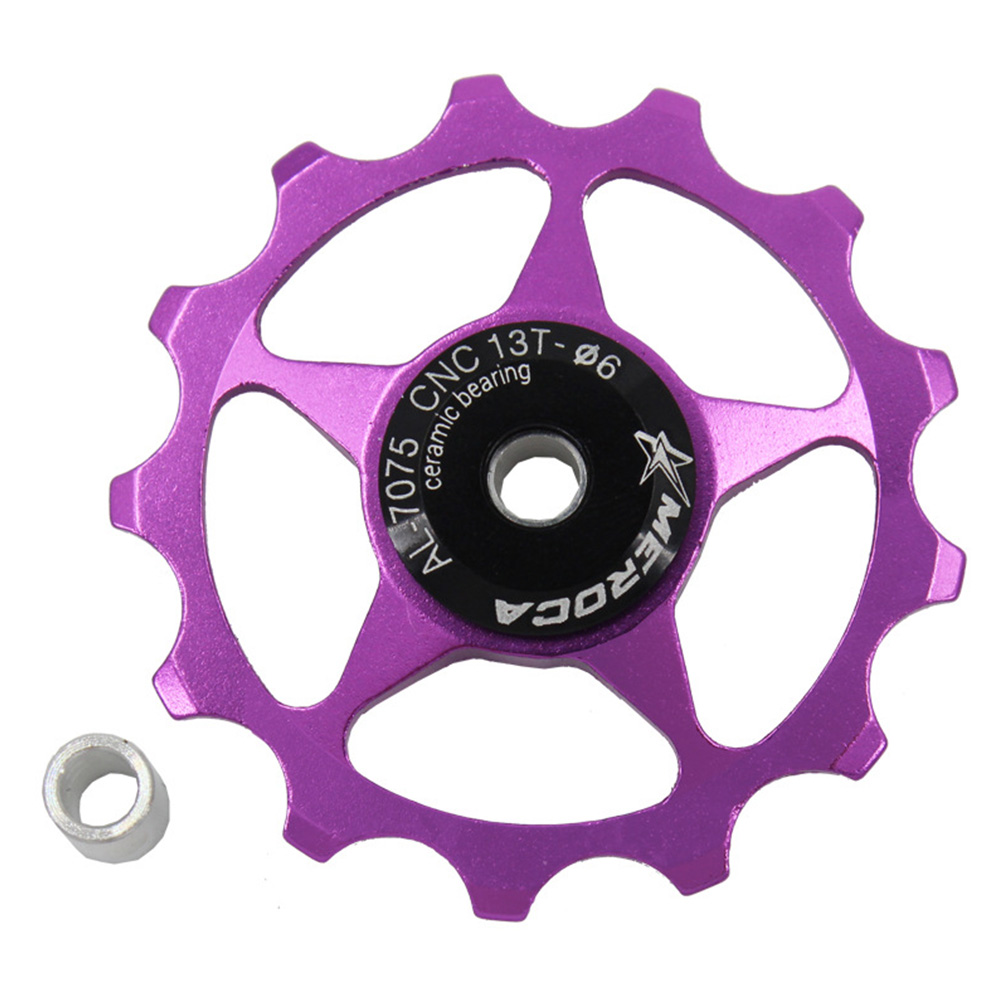 11T/13T Aluminum Alloy MTB Mountain Bike Bicycle Rear Derailleur Pulley Jockey Wheel Road Bike Guide Roller For 7/8/9/10 Speed 13T purple