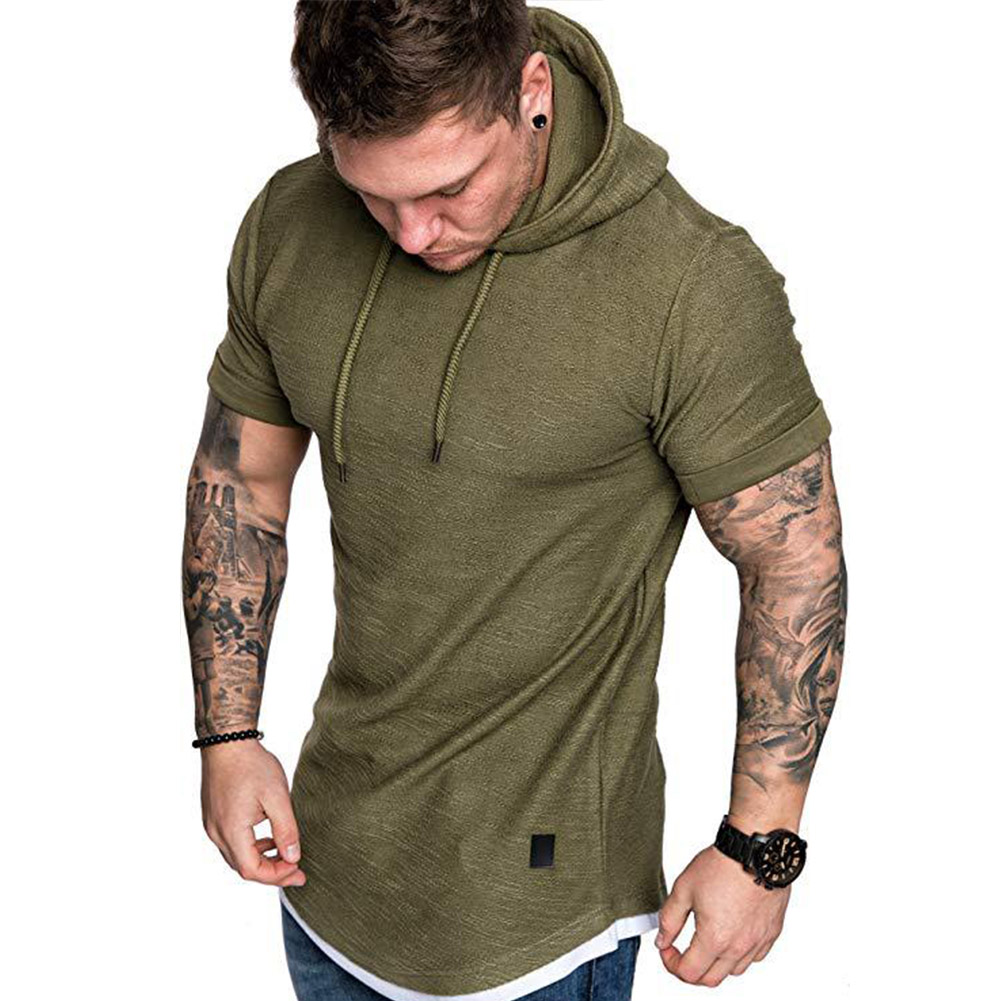 Men Summer Simple Solid Color Hooded Breathable Sports T-shirt Army Green_L