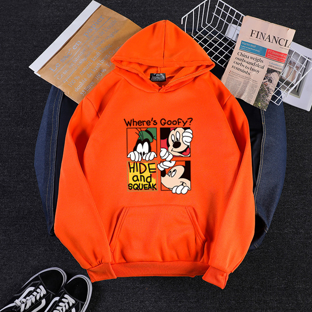 Men Women Hoodie Sweatshirt Cartoon Micky Mouse Thicken Autumn Winter Loose Pullover Orange_S