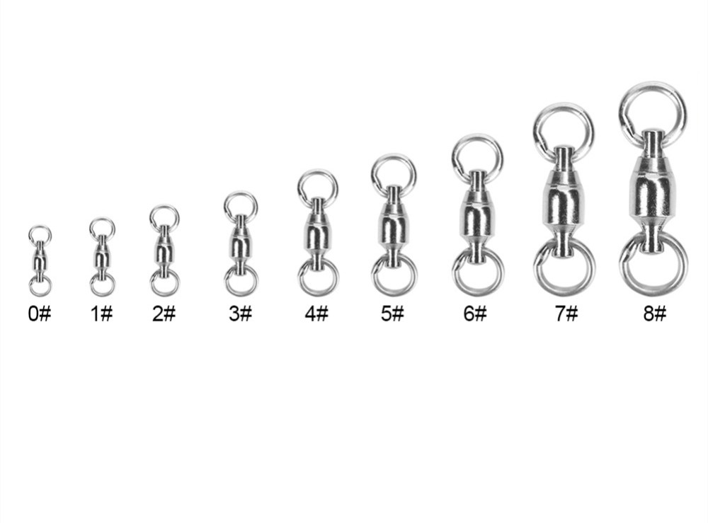 40pcs Stainless Steel Fishing Swivel Snap Connectors Fishing Rolling Swivel Bearing Solid Rings Fishing Accessories Stainless steel_# 0
