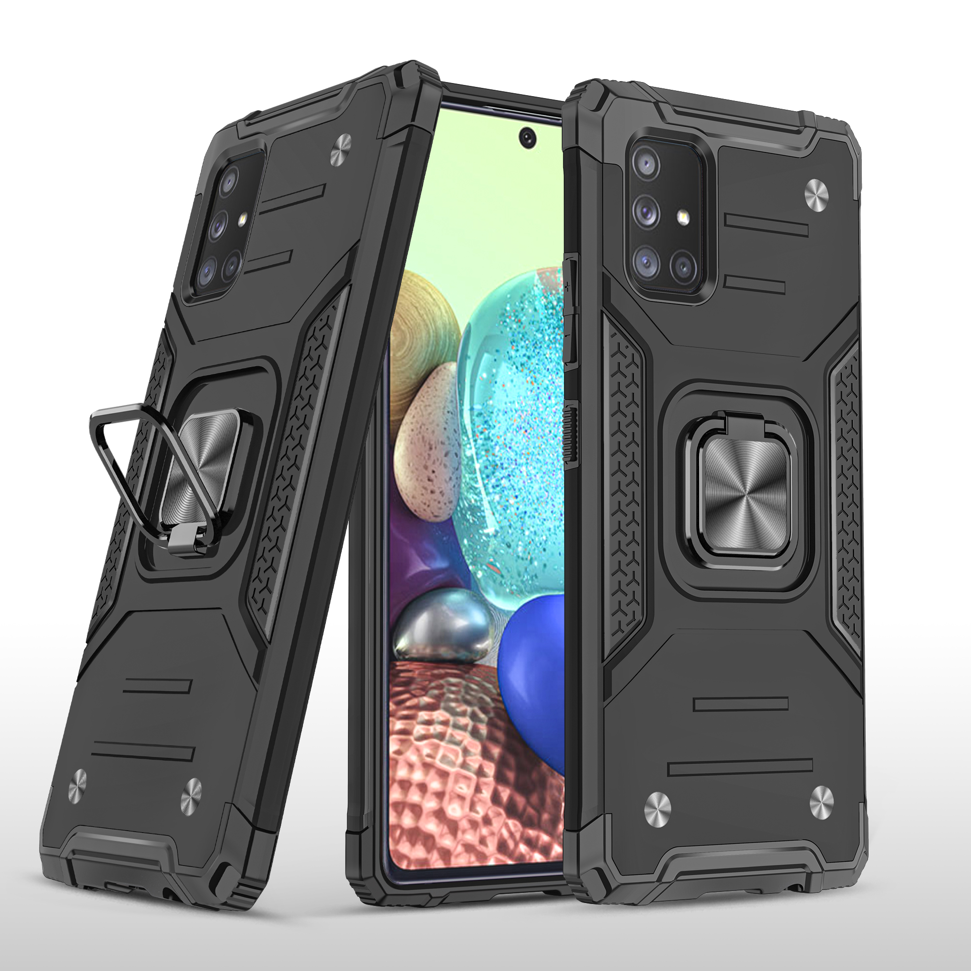Mobile Case with Bracket TPU PC for Samsung A71 5G Anti-drop All-inclusive PVC Bag black