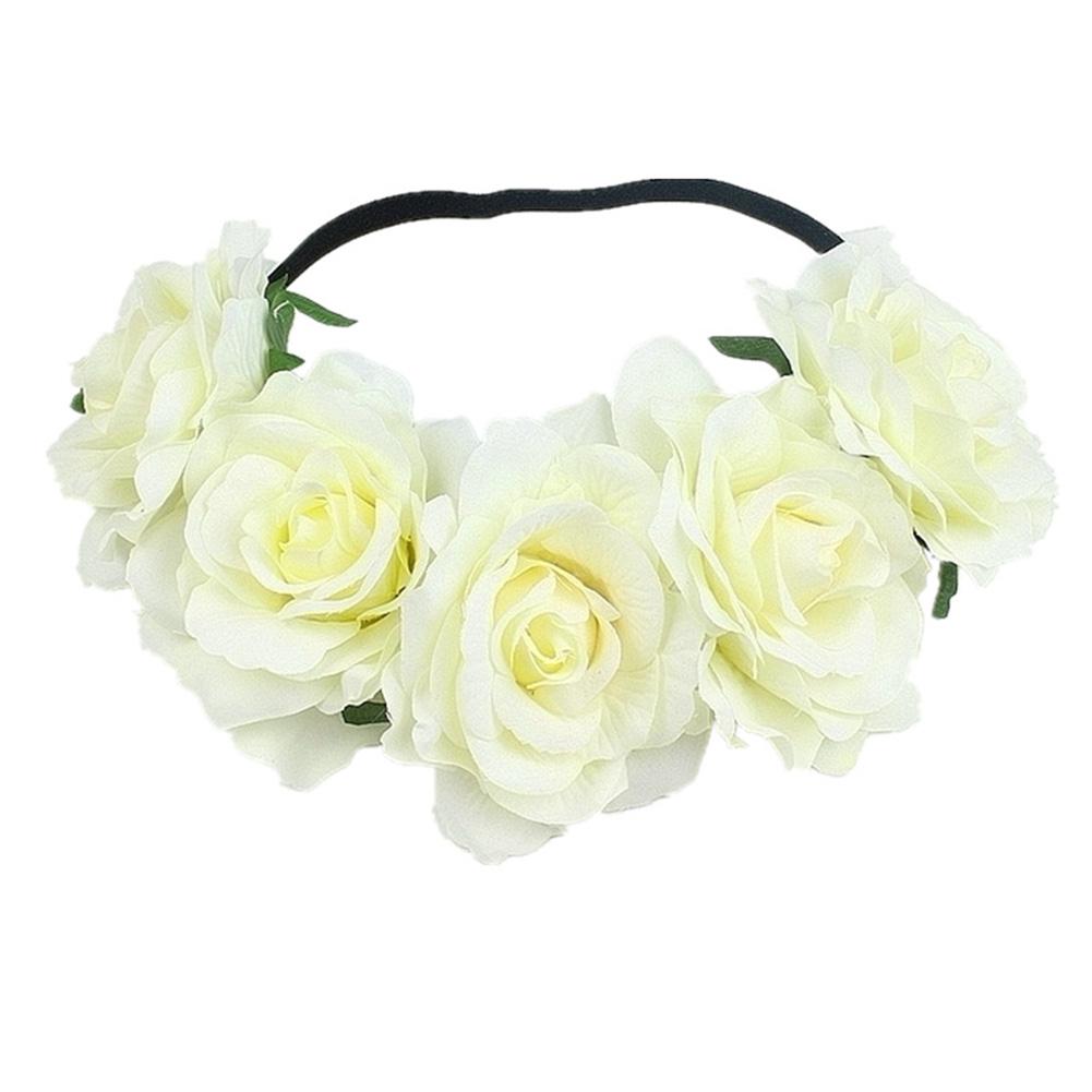 Artificial Flower Garland Rose Love Shape Wreath Headband Silk Rose Wedding Car Decor Beige