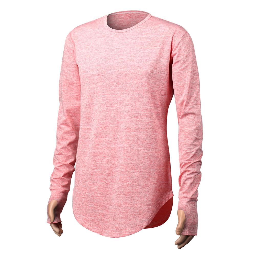 Unisex Cuff Thumb Open Design Fashion Long Sleeve T-Shirt red_L