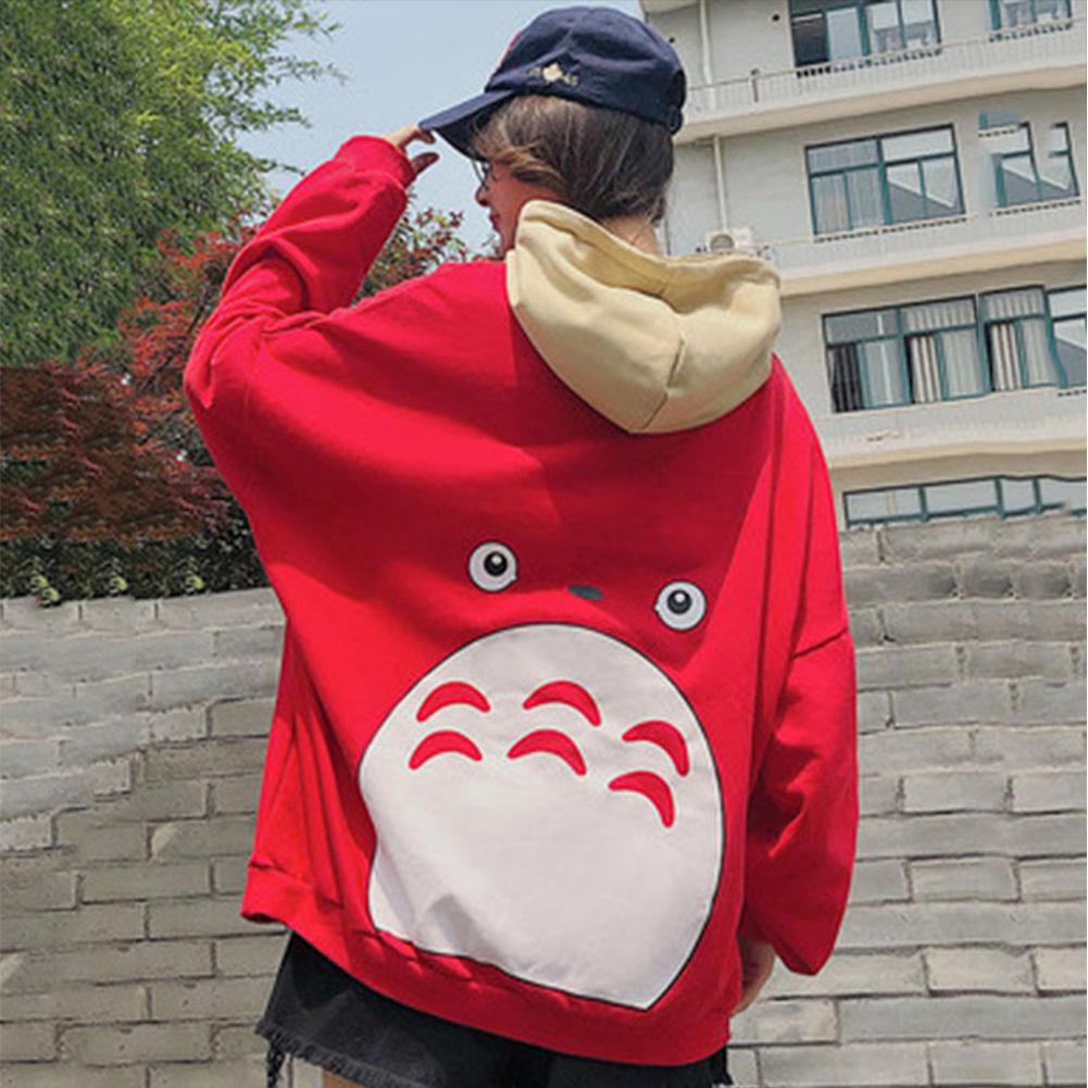 Teenager Lovers Men Women Loose Long Sleeve All Match Hooded Coat Sweatshirts red_L