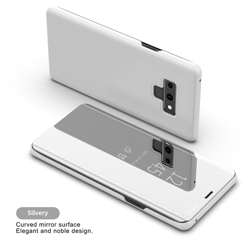 For Samsung Galaxy Note 9 Luxury Mirror View Flip Case Stand Shockproof Cover silver