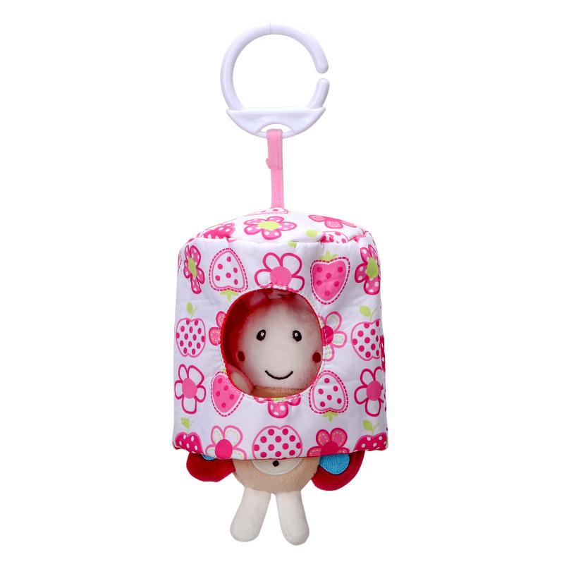 Cute Cartoon Animal Shape Hide Seek Pull Vibration Pendant Plush Toy for Infant