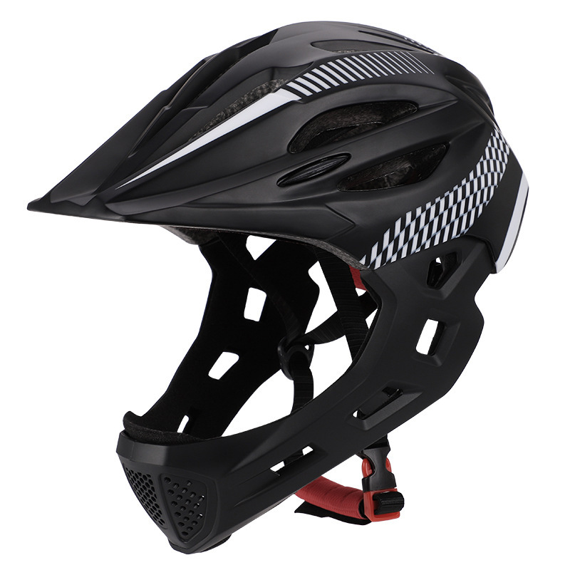 Children Bike Riding 16-Hole Breathable Helmet Detachable Full Face Chin Protection Balance Bicycle Safety Helmet with Rear Light Black White_One size