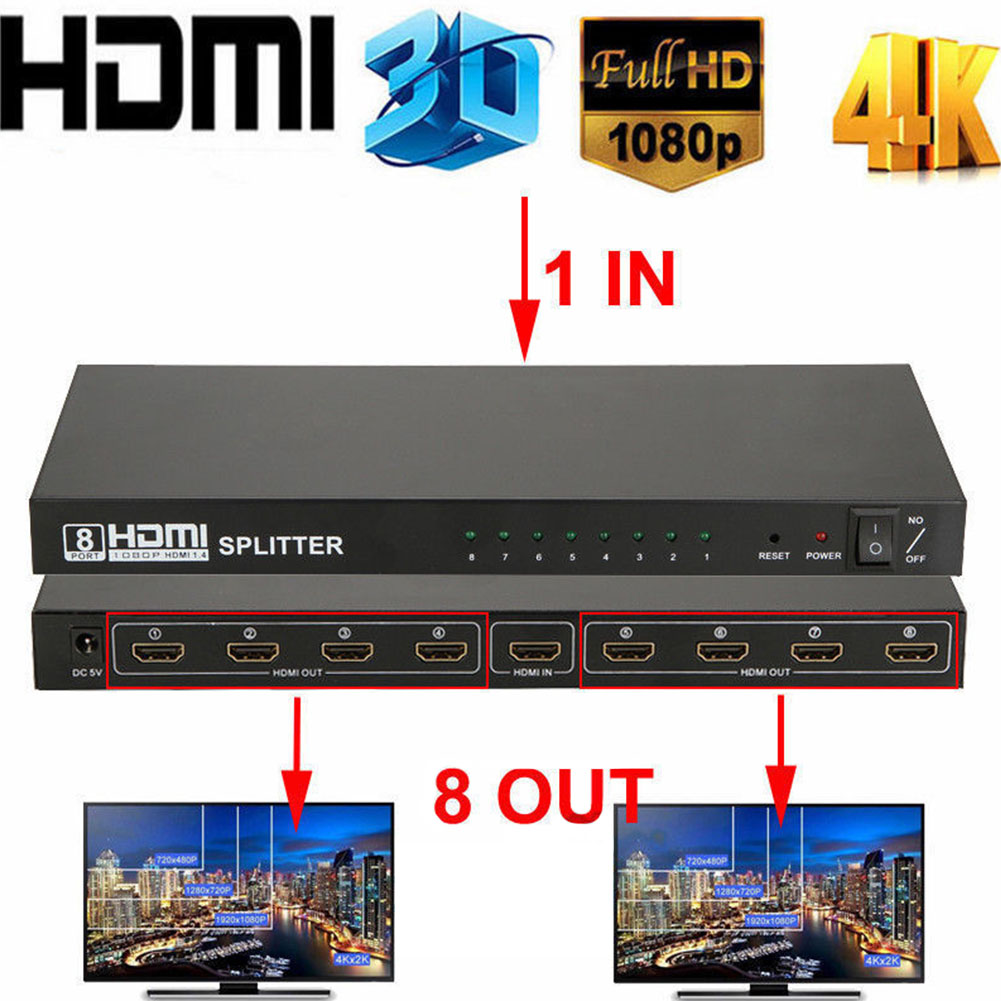 Ultra HD 4K HDMI Splitter 1 In 8 Out 8 Port Repeater Amplifier Hub 3D 1080p  EU plug