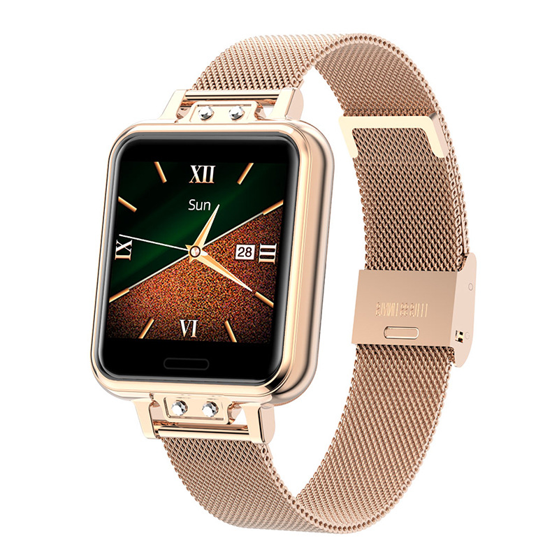 Zl13 Fashion Smart Watch Stainless Steel Heart Rate Blood Pressure Color Screen Smartwatch Golden
