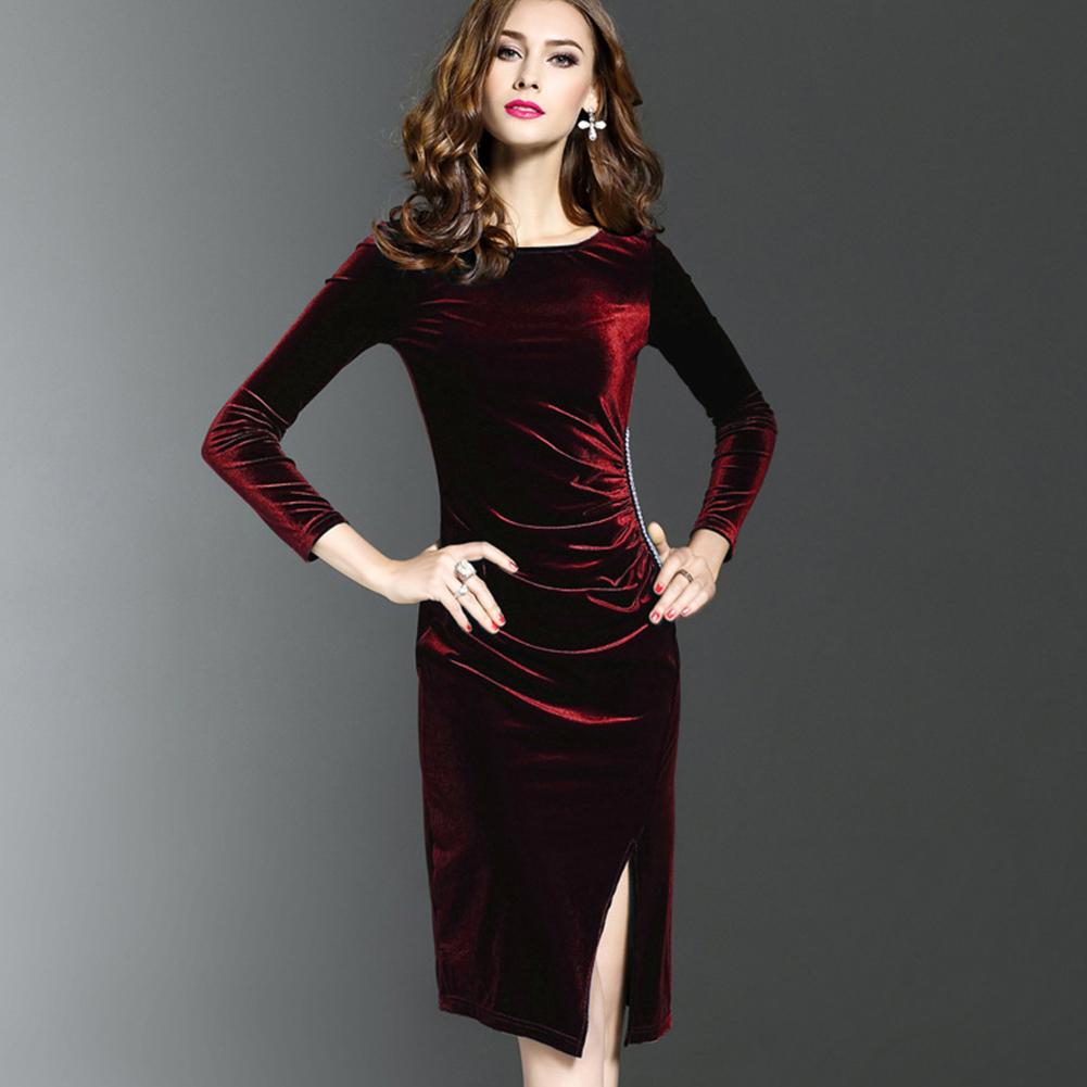 Velvet  Step Dress Slim Long Sleeve with Long Open Bottom Women Split Step Dress Wine red (high quality gold velvet)_XL