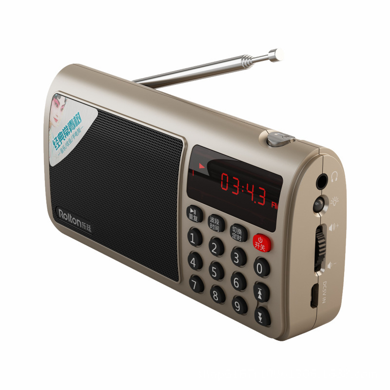 Rolton T50 Portable World Band FM/MW/SW Stereo Radio Speaker MP3 Music Player SD/TF Card for PC iPod Phone Gold