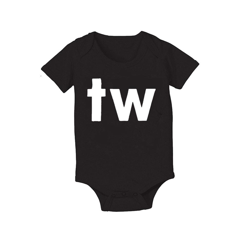 Baby Jumpsuit Cotton Alphabet  Printed Long-sleeveRomper for 0-18M Babies Black tw_M