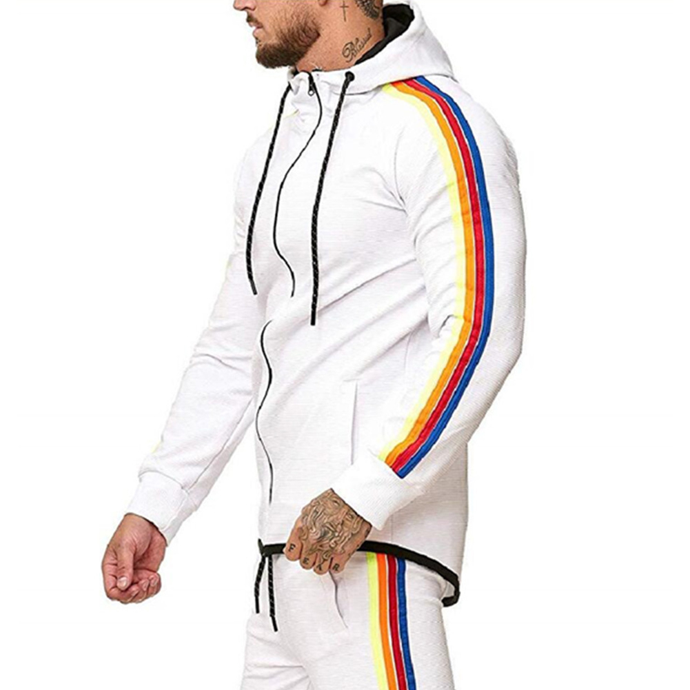 Men Pinstripe Sweatshirt Color Stripe Fashion Zipper Cardigan Hooded Sweatshirt white_XL