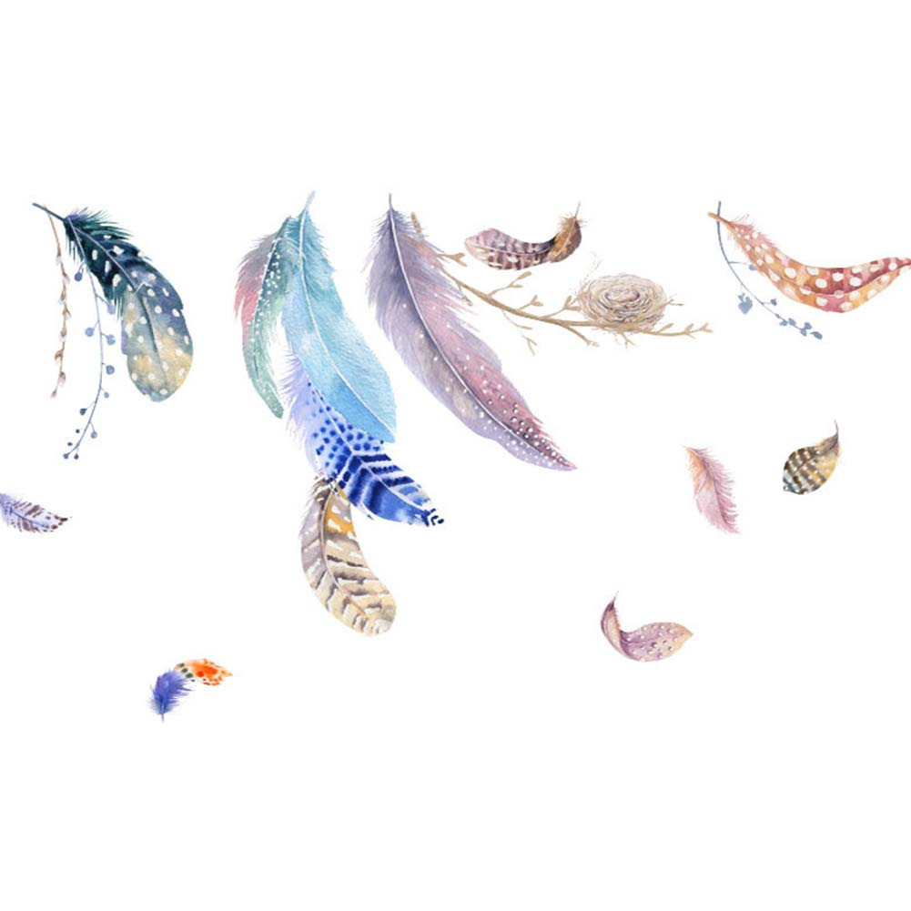 Colorful Feather Pattern Wall Sticker Home Living Rome Decoration FX82020