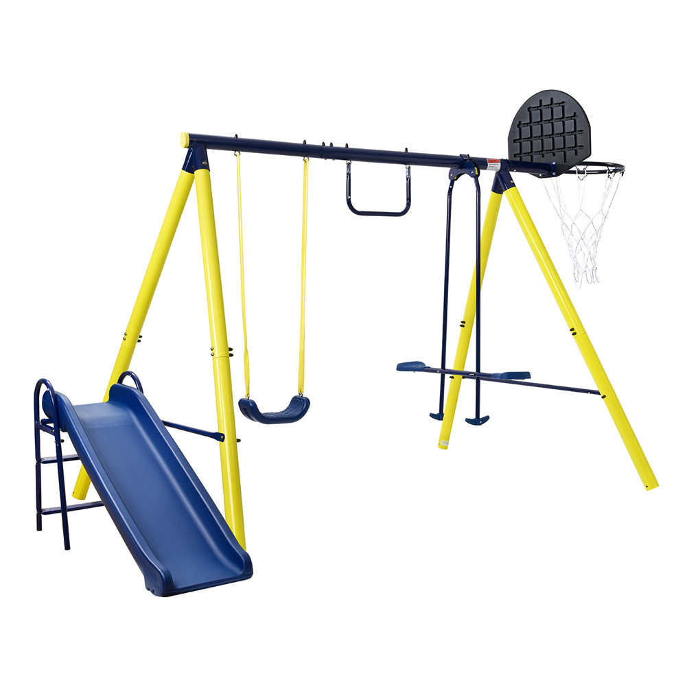 [US Direct] 1 Set 5-in-1  Outdoor  Toddler  Swing  Set Heavy-duty A-frame Swing For Backyard Playground Yellow