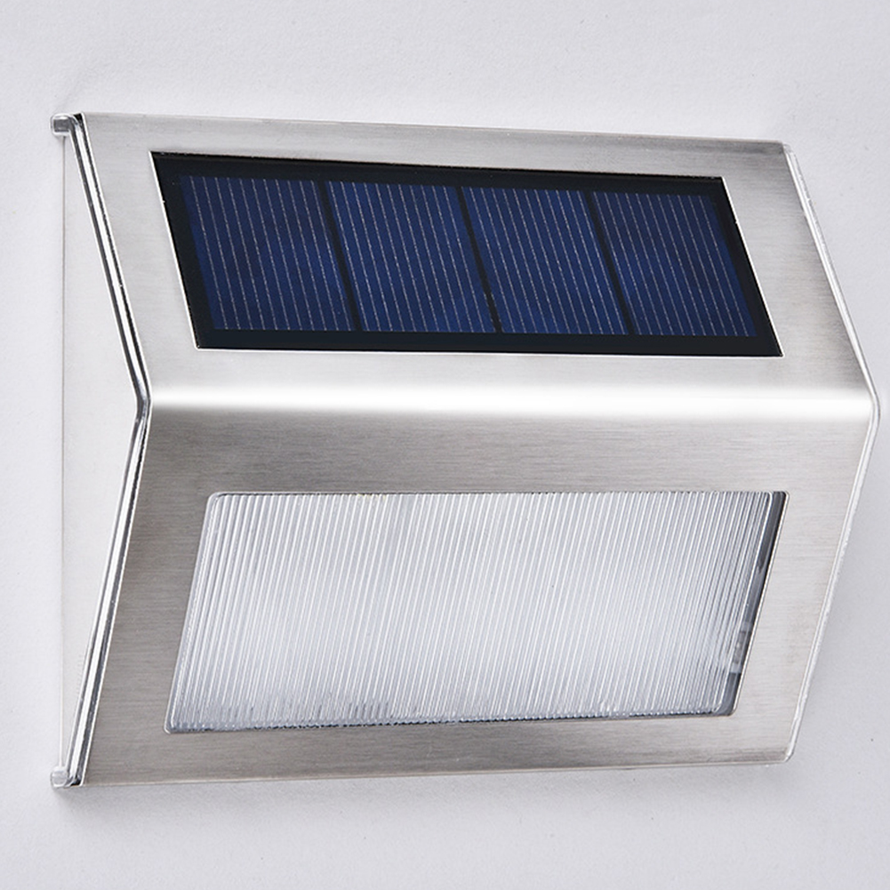 3LEDs Stainless Steel Solar Wall Light for Outdoor Stairs Courtyard Halfpace Road White light