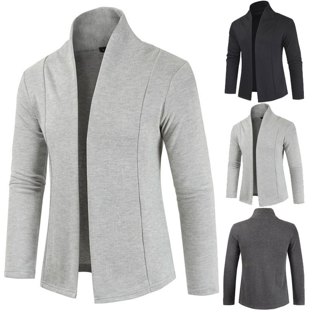 Men Simple Cardigan Slim Sweater Jacket Men V-collar Sweater light grey_L