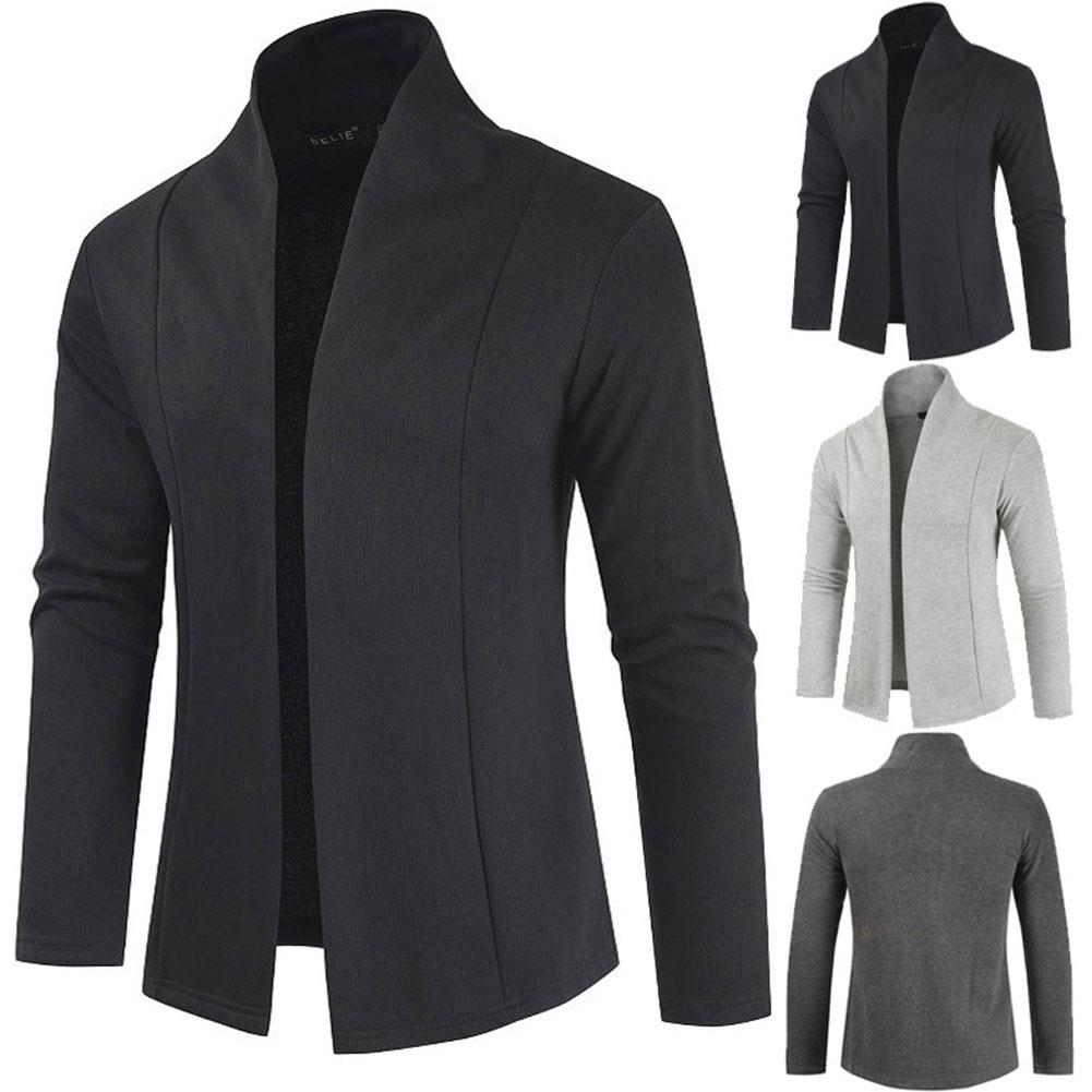 Men Simple Cardigan Slim Sweater Jacket Men V-collar Sweater black_L