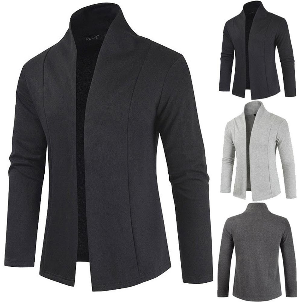 Men Simple Cardigan Slim Sweater Jacket Men V-collar Sweater black_M