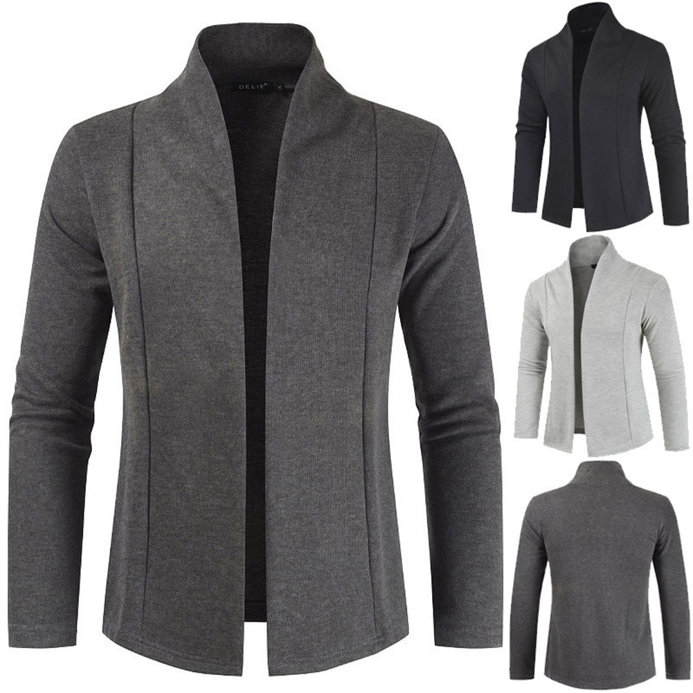 Men Simple Cardigan Slim Sweater Jacket Men V-collar Sweater Dark gray_XL