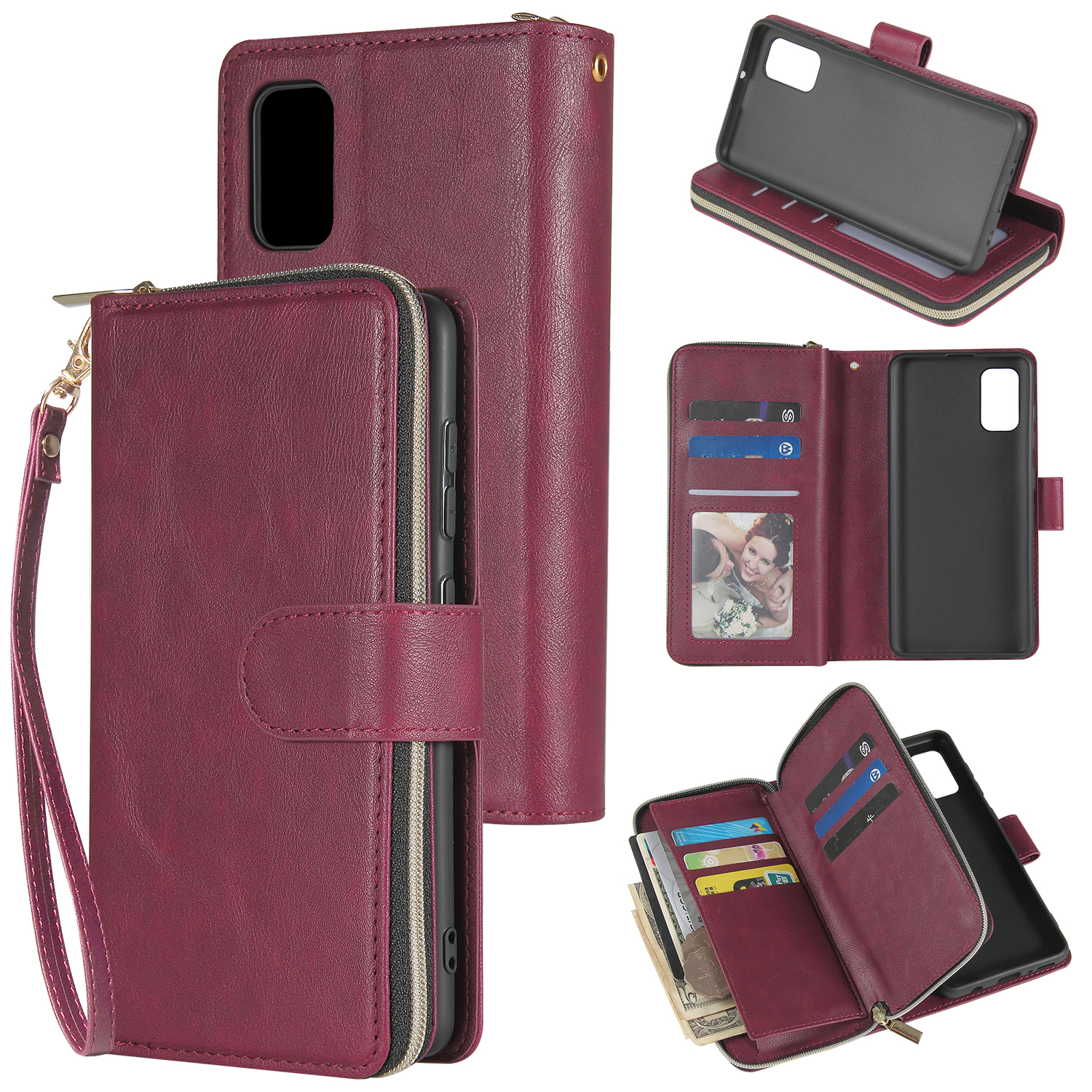 For Samsung A01/A21/A31/A41/A51 Pu Leather  Mobile Phone Cover Zipper Card Bag + Wrist Strap Red wine