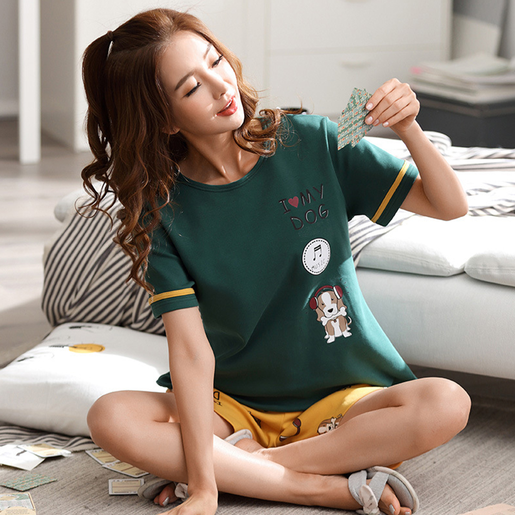 Couple Summer Round Neckline Cotton Short-sleeved Thin Shirt + Shorts Two-piece Outfit 719 women_XXL