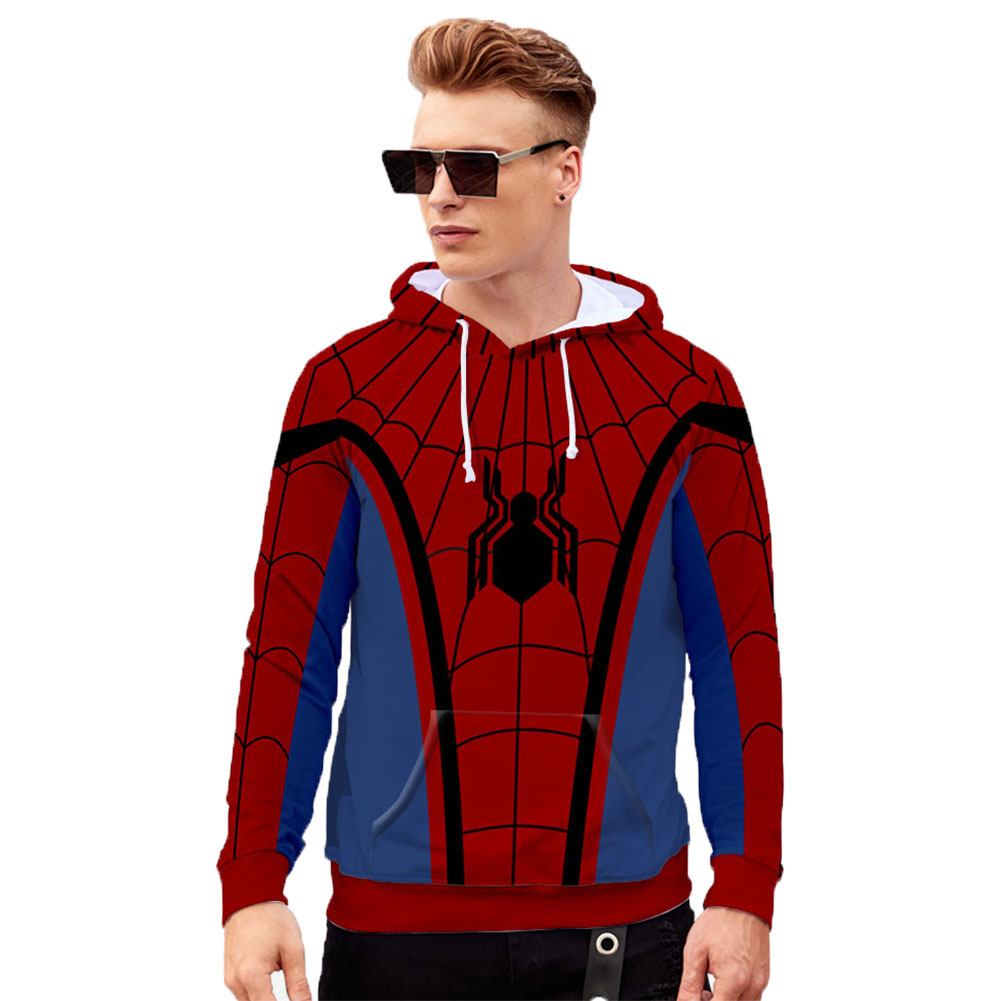 Men Women Stylish Cool Printing Spiderman Heroes Cosplay Sweater Hoodies Style A_XL