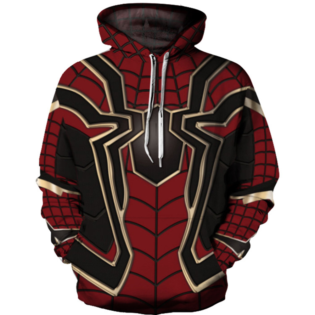 3D Spider Web Printing Sweater Hoodie Cosplay Costume Coat Sweatshirts Pullover red_XXL