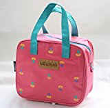 ONOR-Tech Lovely Cute Waterproof Lunch Bag Box Shopping Bag Storage Bag Pouch (Pink Floral)