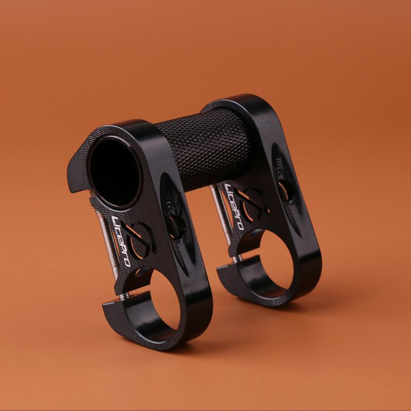 [Indonesia Direct] Litepro Bicycle Double Stem Riser Bicyle Handlebar Stem Adjustable Folding Bike Handlebar Stem  black