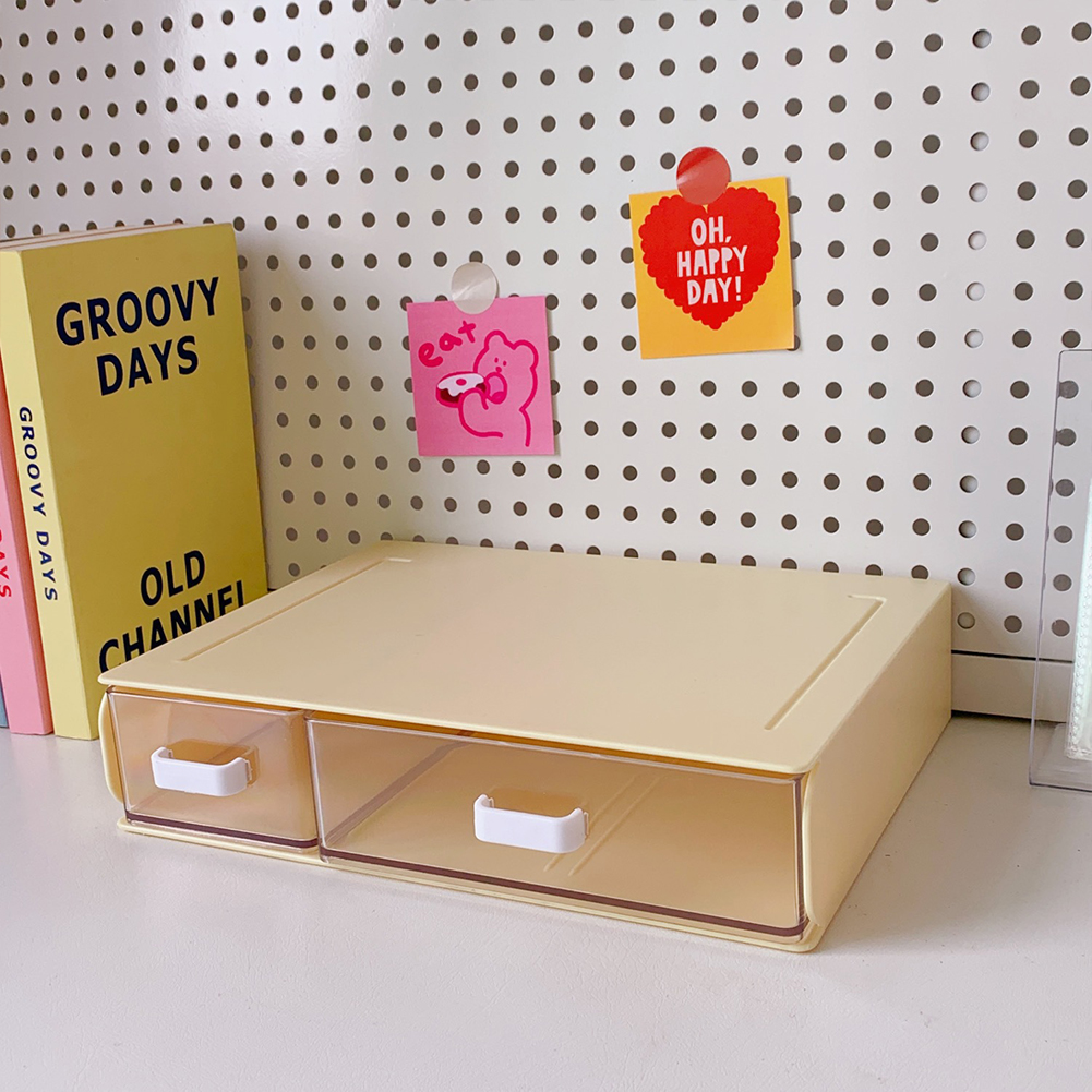 Desktop  Storage  Box Acrylic Drawer Type Dust-proof Shelf Stationery Sorting Household Box 8#Yellow single layer two grids