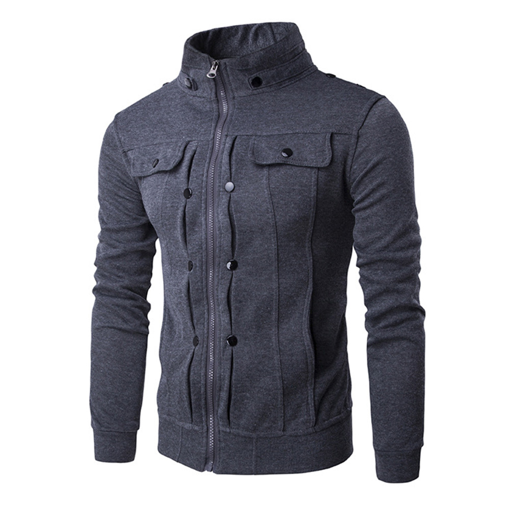 Men Fashion Slim Fit Solid Color Jacket