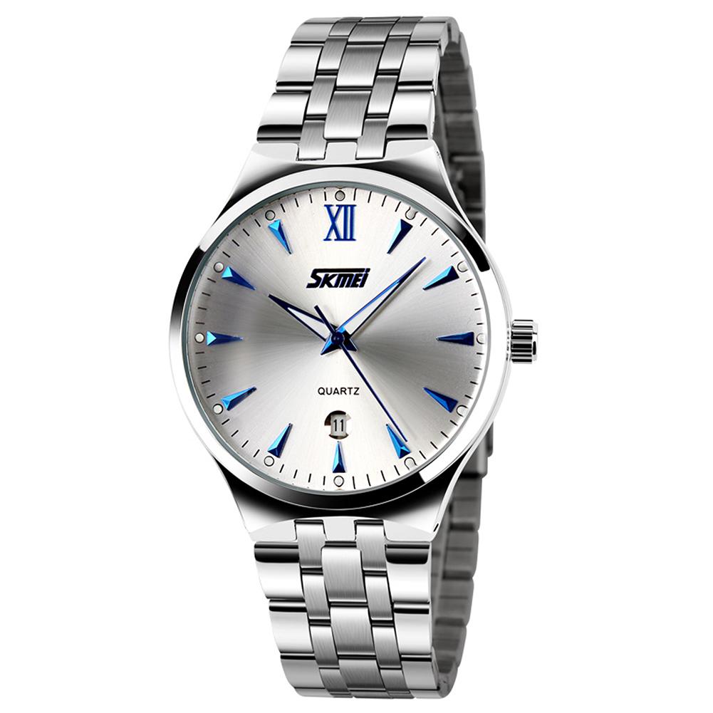 SKMEI Men Sports Quartz Watch Date Display Luminous Waterproof Stainless Steel Wristwatch Blue