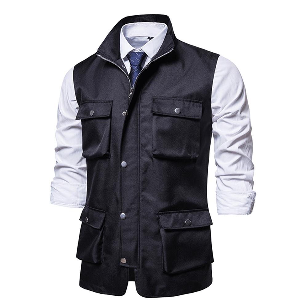Men's Vest Autumn and Winter Casual Multi-pocket Solid Color Vest Black _XL